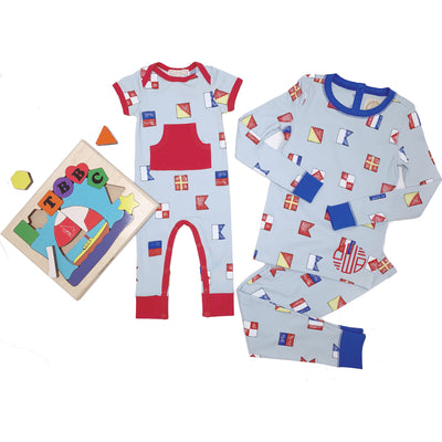 Rowdy Rugby Romper - New Street Nautical Flags with Richmond Red