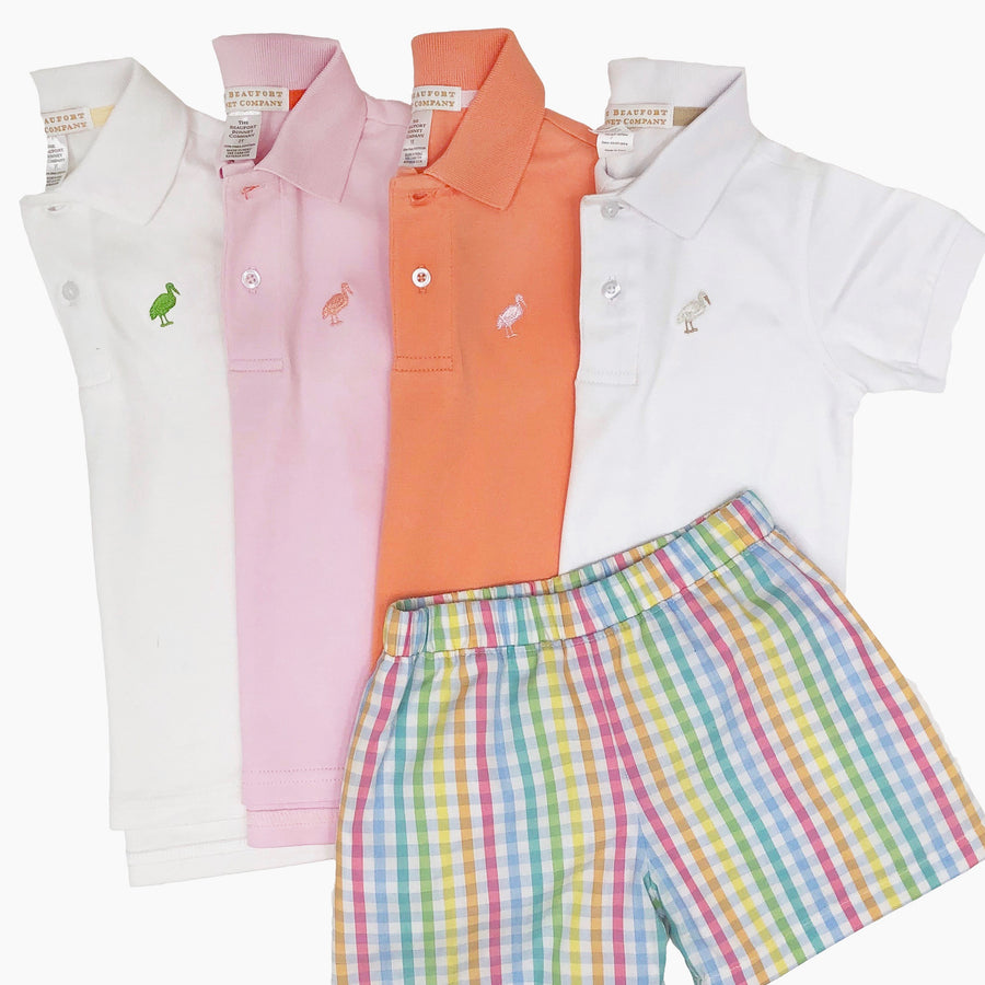 Prim & Proper Polo - Plantation Pink with Seashore Sherbet Stork