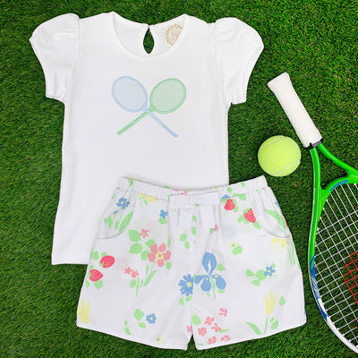 Penny's Play Shirt - Worth Avenue White with Tennis Racket Applique