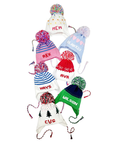 Parrish Pom Pom Hat - Worth Ave. White with Multi Color Polka Dots