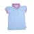 Little Miss Prim and Proper Polo Shirt - Long Bay Blue with Palm Beach Pink Ruffle