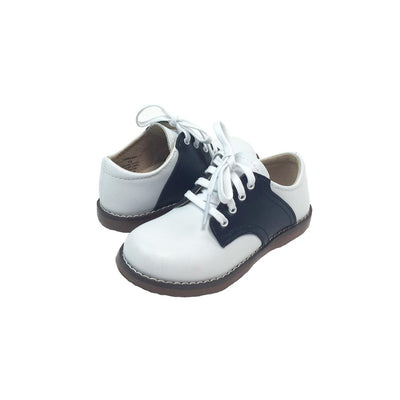 Footmates Saddle Shoe - White with Navy
