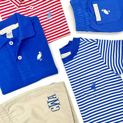 Prim & Proper Polo - Raleigh Raspberry Stripe with Barbados Blue Stork