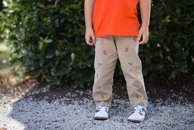 Critter Princeton Pants (Corduroy) - Keeneland Khaki with Fox & Horn Embroidery