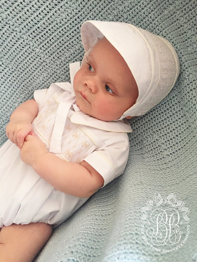 Sweetly Smocked Bonnet - Worth Avenue White with Palmetto Pearl Smocking
