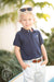 Prim & Proper Polo Onesie - Nantucket Navy with Buckhead Blue Stork