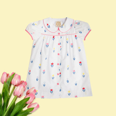 Tabitha's Teacher's Pet Dress - Travilah Tableau Tulip with Worth Avenue White & Hamptons Hot Pink