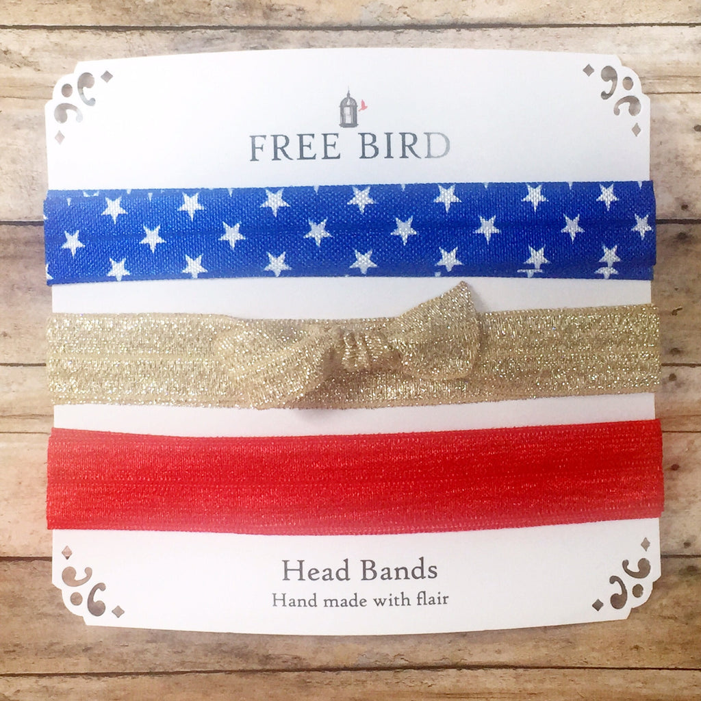 Free Bird Red White & Bling Head Bands