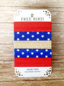 Free Bird Red, White and Bling Hair Ties