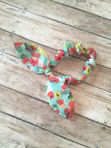 Free Bird Teal Coral Floral Bow Tie