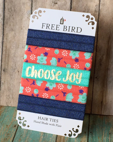 Free Bird Choose Joy Hair Ties