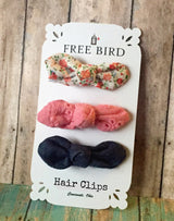 Free Bird Floral & Eyelet Hair Clips