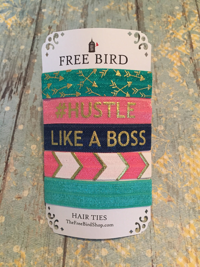 Free Bird Hustle Like a Boss FOE Hair Ties