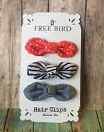 Free Bird Dots & Stripes Hair Clips
