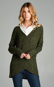 Olive Cross Front Tunic Sweater