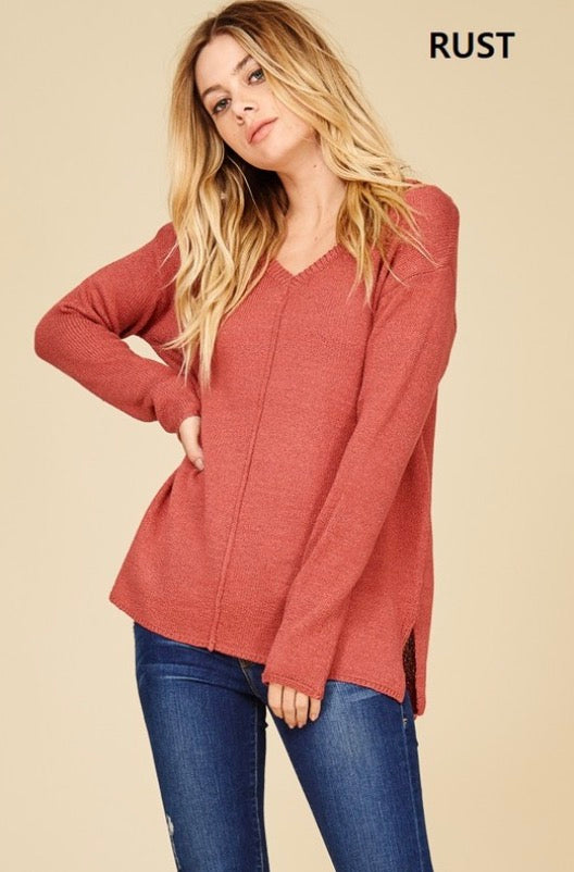 Rust Sweater with Strappy Accents