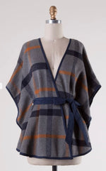 Navy, Tan and Gray Tie Poncho