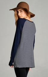 Navy Striped with Button Accents