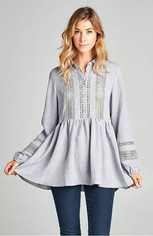 Peplum Lace Button Up