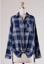 Navy Buffalo Plaid Top