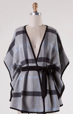 Gray and Navy Plaid Poncho