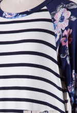 Floral and Striped Raglan T