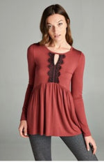 Burgundy Eyelash Lace Top