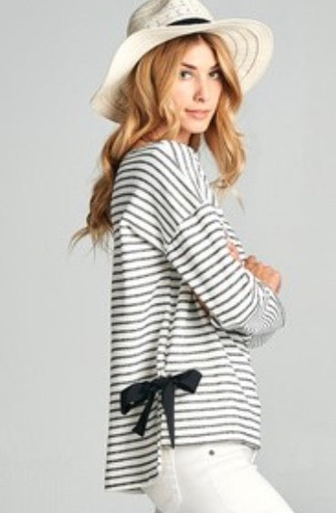 Black Striped Top with Bow Accent