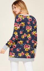 Navy Floral Asymmetrical Hem Top
