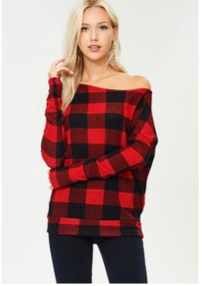 Red Buffalo Plaid Off the Shoulder