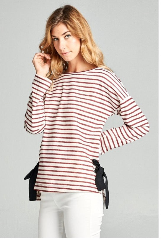 Burgundy Striped Top with Bow Accent