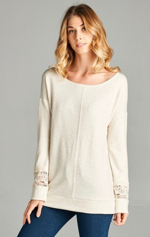 Ivory Sweater with Lace Accents