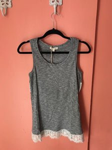 Striped lace accent tank