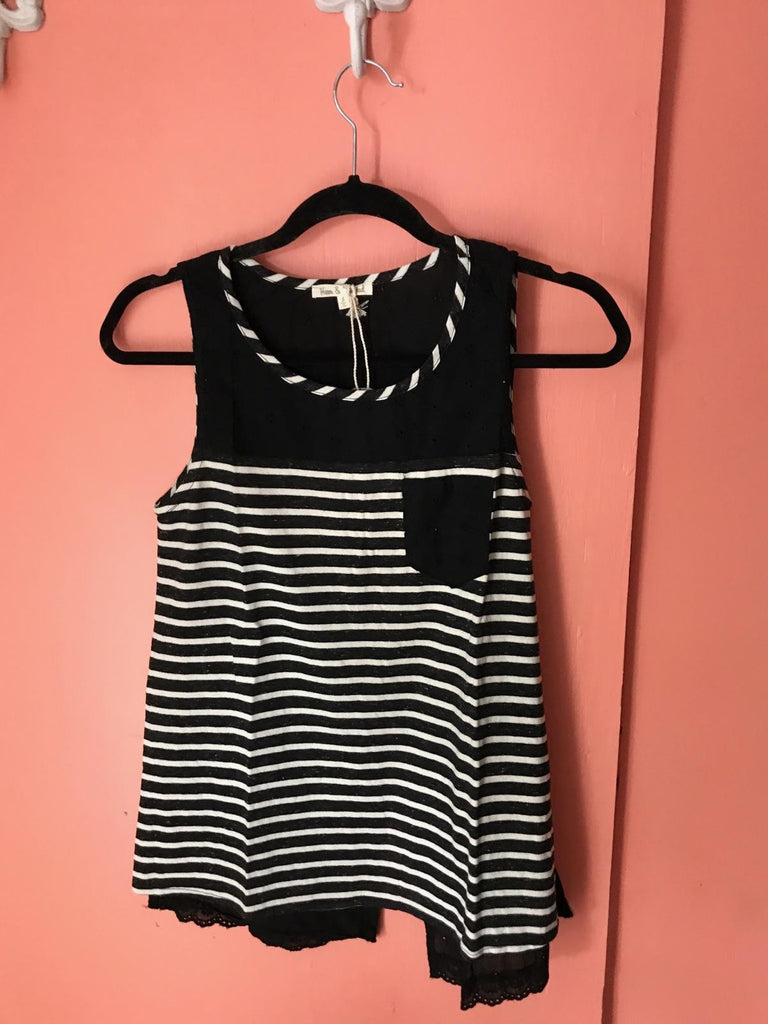 Black striped eyelet top