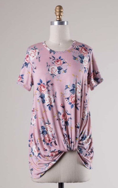 Pink Floral Knotted Tee
