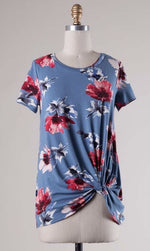 Blue Floral Knotted Tee