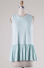 Sleeveless Peplum T- mint