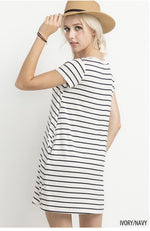 Navy Striped T Shirt Dress