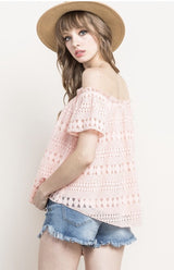 Blush Lace Off the Shoulder Top