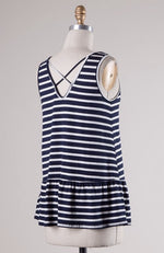 Striped Sleeveless Peplum