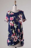 Navy Floral T with Knot