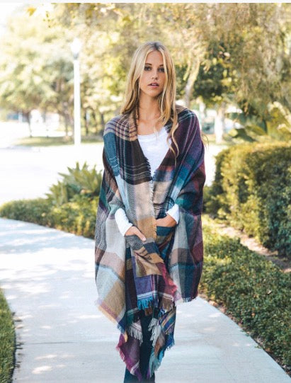 Camel and Pink Plaid Wrap with Pockets