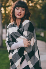 Black and White Buffalo Plaid Wrap