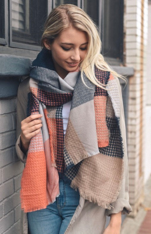 Navy and Orange Scarf