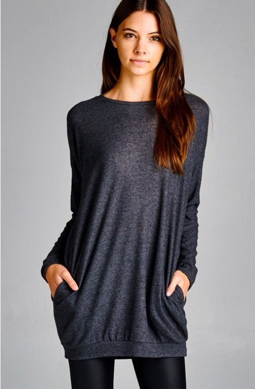 Charcoal Gray Tunic with Pockets