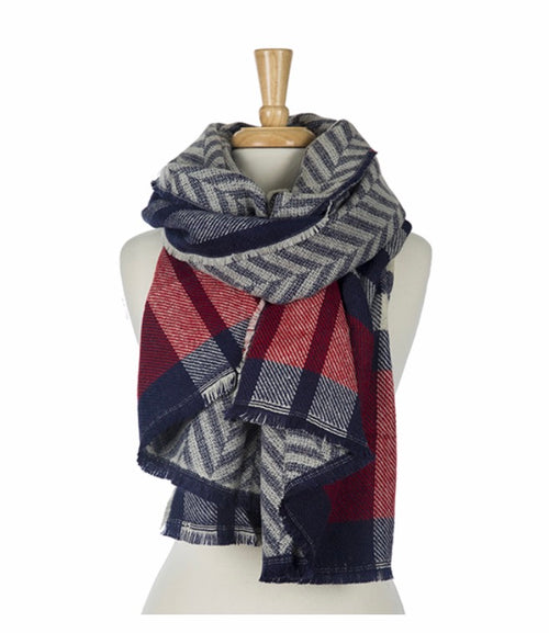 Navy and Red Cozy Scarf