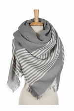 Gray Striped  Blanket Scarf