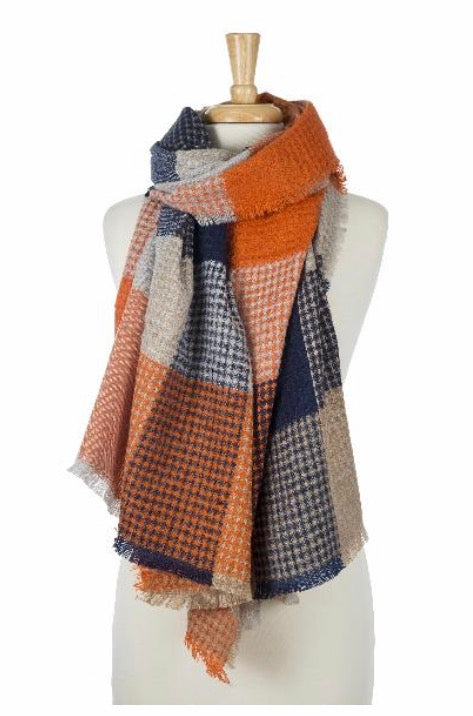 Navy and Orange Cozy Scarf