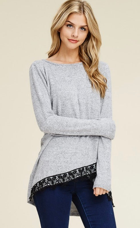 Gray Lace Hem Tunic Sweater