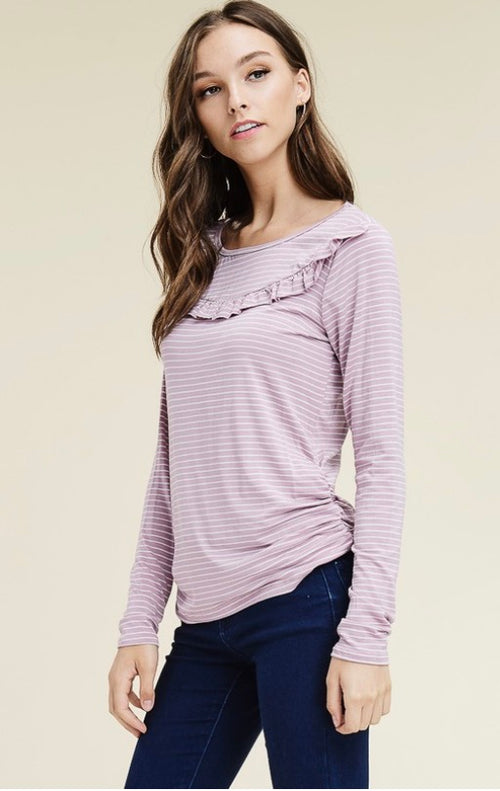 Lavender Ruffle Knit Top